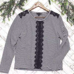 Janie Striped Lace Top
